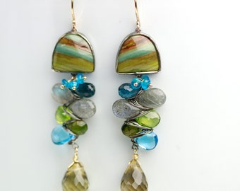 Jasper and Gem Weave Dangle Earrings. 14k Gold and Oxidized Silver.