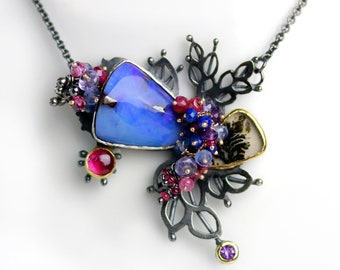 Boulder Opal and Dendritic Agate Leafy Pendant Necklace