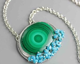 Malachite Necklace. Argentium Sterling Silver Necklace. Malachite Pendant Jewelry.