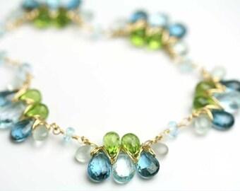 Blue Topaz Peridot Aquamarine Gem Weave Necklace December Birthstone Statement Jewelry