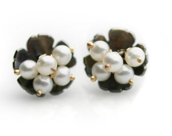 Midnight Daisy Post Earrings with Pearl Clusters