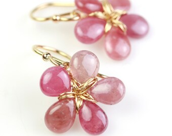 Ombre Pink Sapphire Flower Earrings. Gold Fill Pink Sapphire Earrings. Flower Earrings.