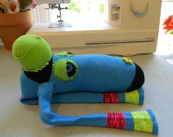 Sock doll monkey stuffed animal blue recycled upcycled julieannmade Maine USA handmade
