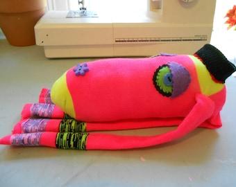 Sock doll monkey stuffed animal pink recycled upcycled julieannmade Maine USA handmade