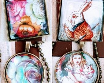 Necklaces pendants antique  Alice in wonderland handmade jewellery