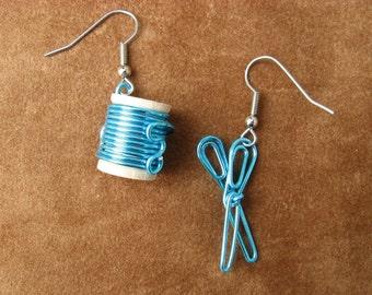 Blue scissors and thread EARRINGS Seamstress