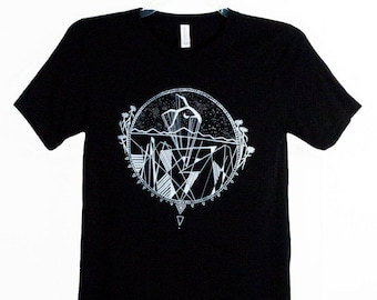 Desert Antler Mens Screen Printed Black Tee