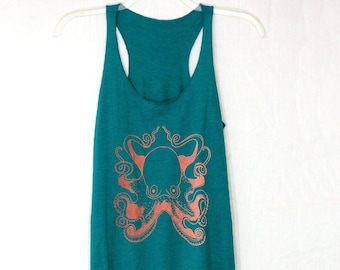 Women's Octopus Tank top in Teal