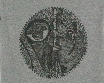 Sloth Shirt,  Men's Unisex Hand Screen T Shirt