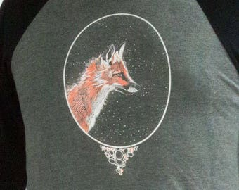 Fox Long Sleeve, Baseball Tee, Hand Screen Printed, Longsleeve