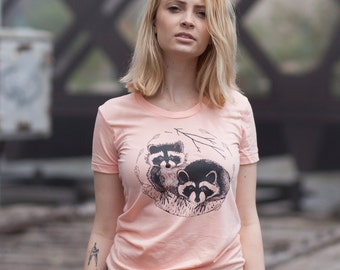 Raccoon T Shirt, Cute Baby Animals, Forest Creatures, Women's Tee