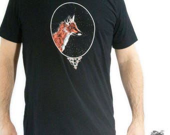 Men's Fox Tee Screen Printed Black Shirt