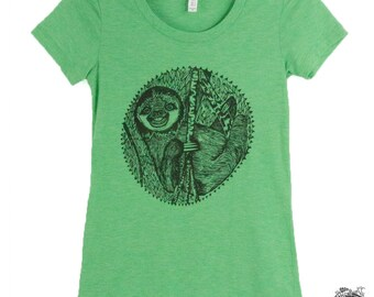 Smiling Sloth Women's Tee Shirt Hand Screened Animal Tee