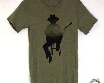 Musician Gift Guitar Player Bob Dylan Woodie Guthrie Americana Mountains Men's Tee Shirt