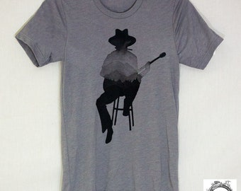 Guitar player, Musician Shirt, Folk, Americana, Hand Screen Printed Tee for Him