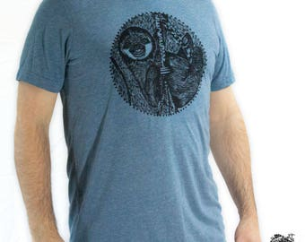 Men's Sloth Triblend Tee Animal Spirit Shirt Color Denim Blue
