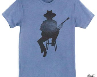 Musician Guitar Harmonica Player Mens Tee Shirt Hand Dyed