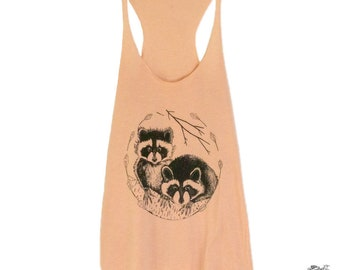Raccoon Womens Screen Printed Tank Peach Racerback