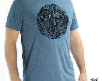 Men's Sloth Triblend Tee Animal Spirit Shirt Color Denim Blue