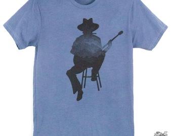 Musician Guitar Harmonica Player Mens Tee Shirt Hand Dyed