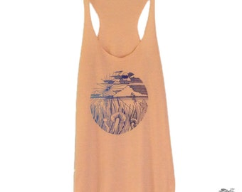 Mushroom, Hot Air Balloon, Bleeding Heart Women's Tanks Top on Peach