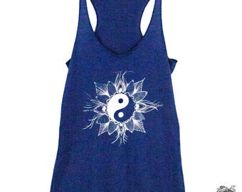 Yin Yang Women's Tank Top, Mandala Pattern, Yoga and Workout Tank top for Women