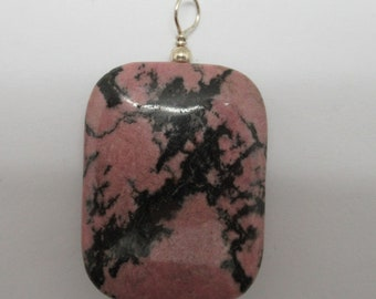 Pink Rhodonite and Sterling Pendant