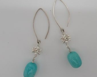 Amazonite and Sterling Silver Earrings