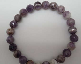 Faceted Chevron Amethyst and Sterling Stretch Bracelet
