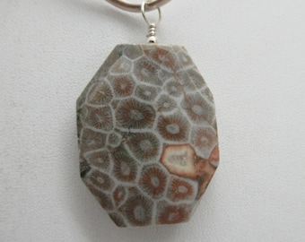 Fossilized Coral and Sterling Pendant