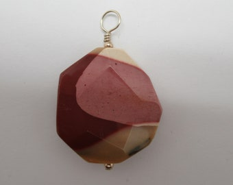 Natural Faceted Mookite Jasper and sterling pendant