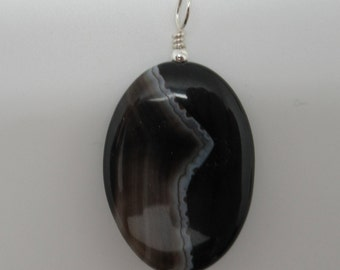 Sardonyx and Sterling Pendent  (striped onxy)