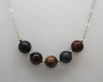 10mm natural tigers eye and sterling necklace