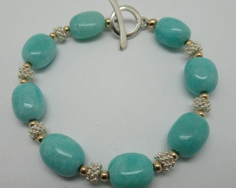 Amazonite and sterling bracelet