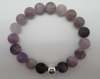 Matte Chevron Amethyst and sterling stretch bracelet
