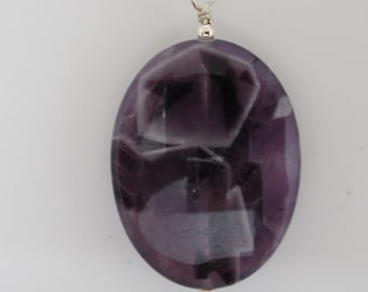 Chevron Amethyst and Sterling Pendant