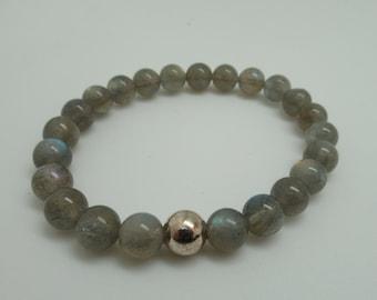 Labradorite and Sterling Stretch Bracelet
