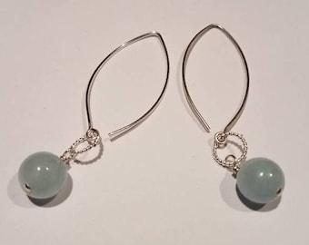 Aquamarine and sterling earrings