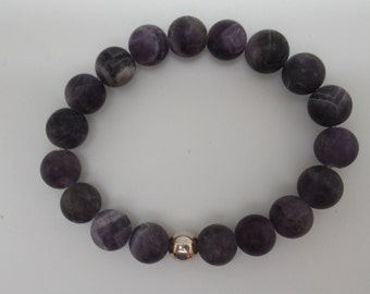 Matte Chevron Amethyst and sterling stretch bracelet