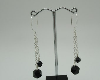 Onyx and Sterling Silver Earrings