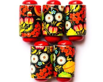 Red hot flower beads - 5 Handmade polymer clay beads - flower barrel beads - Handmade beads