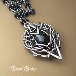 Angel of the shadow - Fine/sterling silver and black onyx necklace