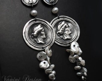 Olympias -  Fine silver and pearls dangle earrings