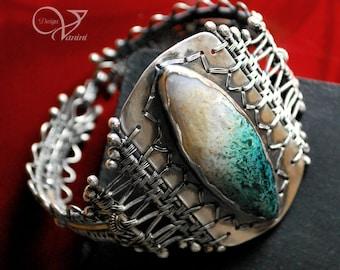 The wave - Moss agate,Fine/sterling silver bracelet