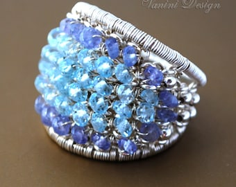 Arctic - Sterling silver,topaz and tanzanite ring