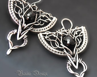 Angel of the shadow - Fine/sterling silver and black onyx earrings
