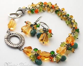 RESERVED -4th-last payment -Fine silver, Golden citrine, emerald, chrome diopside, peridot, carnelian, lemon quartz bracelet and earrings