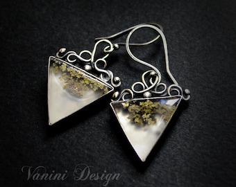 Moss agate fine/sterling silver triangle dangle earrings