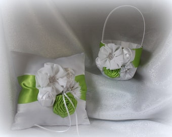 Dark blue lace on satin flower girl basket and pillow white or ivory satin custom made