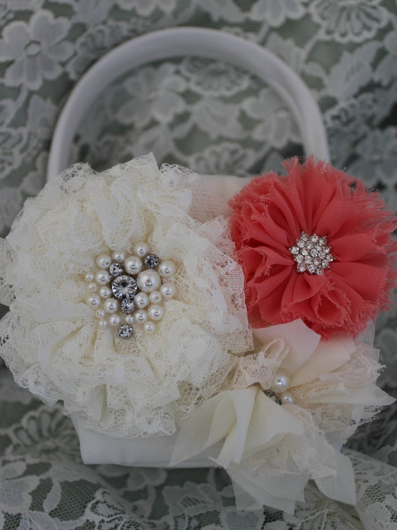 Cream/White Flower Girl Basket Lace Flower Cream and Coral Chiffon Flowers Accented with Rhinestones and Pearls